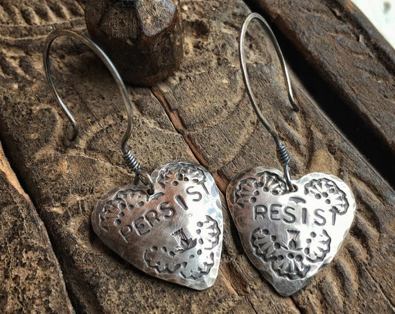 Heart Protest earrings ~ hammered 925 sterling silver rustic handcrafted earrings , RESIST PERSIST ~ handcrafted