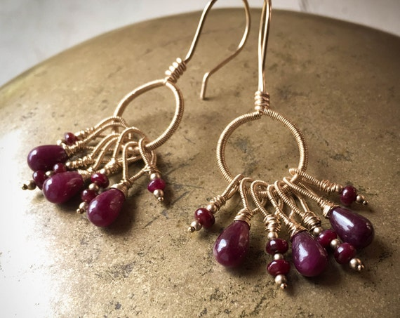 Genuine Ruby Gemstone Bohemian Earrings ~ 14k gold fill wire wrapped tribal elegant dangle drop chandelier  gemstone Artsfish Studio