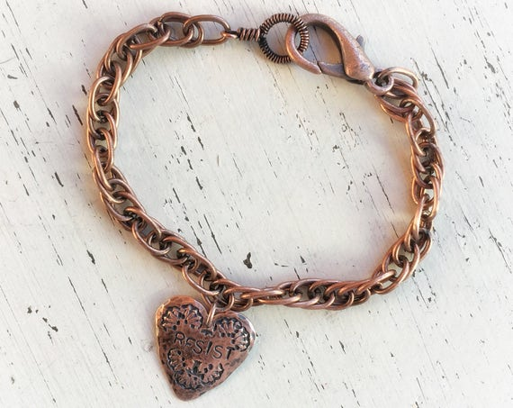 Copper bracelet with hammered copper RESIST heart  charm ~ custom sized