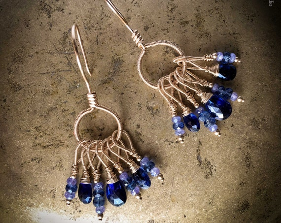 Bohemian Kyanite & Tanzanite  14k gold fill Gemstone Earrings ~ Vivid blue briolette rustic wire wrapped boho Artsfish Studio