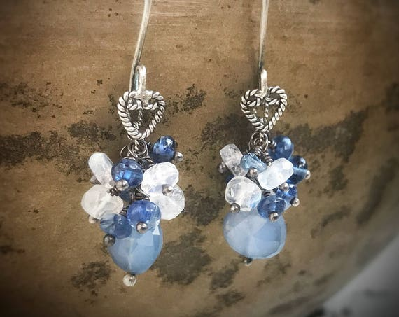 Shades of blue gemstone earrings~ Chalcedony, kyanite, moonstone & sterling silver ~ boho Artsfish Studio