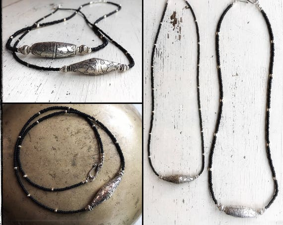 """Tibetan necklace, 925 silver and matte black Japanese glass  ~ 2 sizes ~ 19"""" and 22 ~ handcrafted gift box included"""