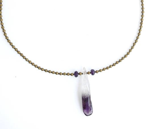 "Amethyst crystal gemstone pendant necklace ~ matte gold hematite ~ 18"" ~ 46 cm  ~ 14K gold filled lobster clasp ~ heirloom quality"