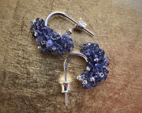 Tanzanite and sterling hoop post earrings ~ unique ~ gemstones woven on to solid .925 silver ~ heirloom quality