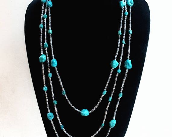 Turquoise nugget necklace earring set  ~ 31 inches, 3 strand Native American heishi ~ .925 sterling silver vintage Southwest materials