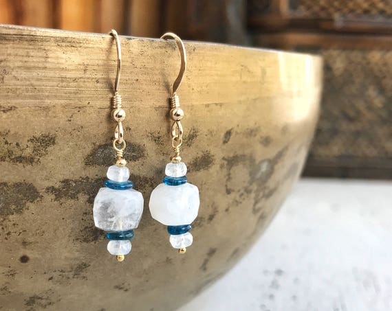 Moonstone & teal blue apatite dangle earrings ~ 14k gold fill ~ blue flash moonstone cube ~ gemstones