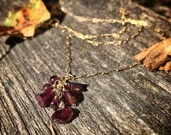 "Garnet cascade pendant necklace ~ 18"", 46cm ~ 14k gold fill ~ gemstone necklace ~ handcrafted artisan made"