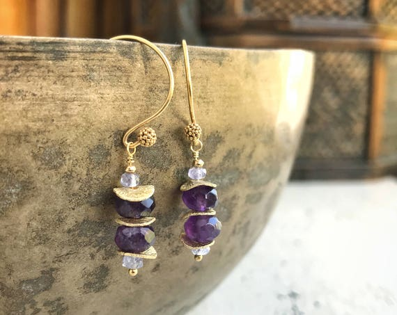 Amethyst & tanzanite earrings ~  deep purple amethyst gemstones, lavender tanzanite~ 24k vermeil ~ heirloom quality