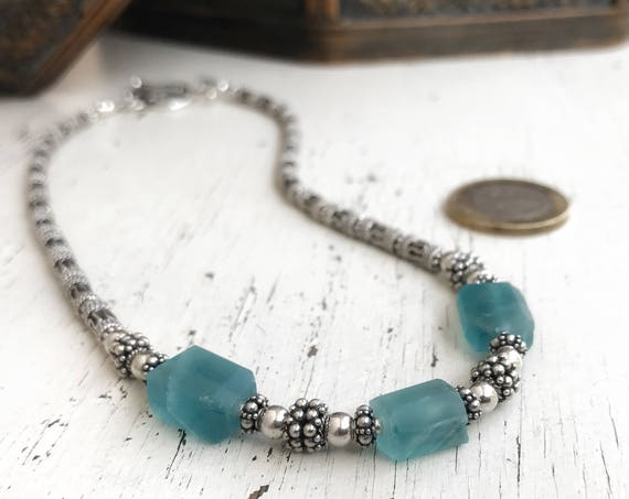 Aqua blue fluorite  ~ Frosted matte gemstone choker necklace ~ 15 inch/38 cm ~ .925 Bali sterling silver ~ bohemian style ~ Artsfish Studio