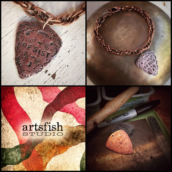 Copper bracelet with hammered copper RESIST or PERSIST guitar pick charm ~ custom sized