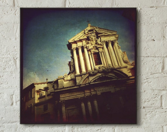 Canvas Wrap ~ Rome Italy architecture facade sky ~ READY TO HANG solid back canvas print wall art museum quality materials Artsfish Studio