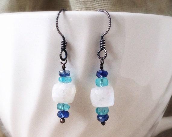 Moonstone Gemstone Earrings ~ teal apatite, blue kyanite rustic sterling dangle drop boho bohemian handcrafted earrings Artsfish Studio