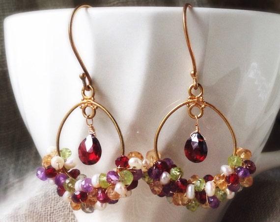 Gemstone Earrings ~ Multi gemstone amethyst citrine pearl garnet peridot 24k vermeil wire wrapped hoop boho elegant dangle Artsfish Studio