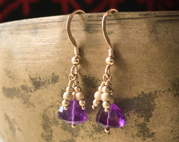 Amethyst Gemstone Earrings ~ purple lavender gold fill drop dangle handcrafted elegant earrings _handcrafted packaging ~ Artsfish Studio