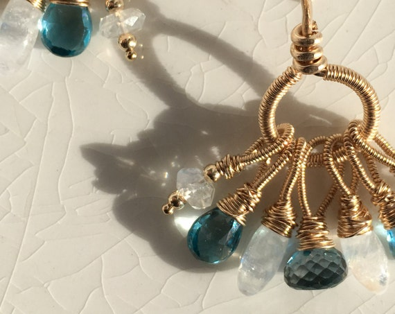Bohemian London Blue Topaz & Moonstone Gemstone Earrings ~  Gold Fill ~ wire wrapped  ~ handcrafted elegance Artsfish Studio
