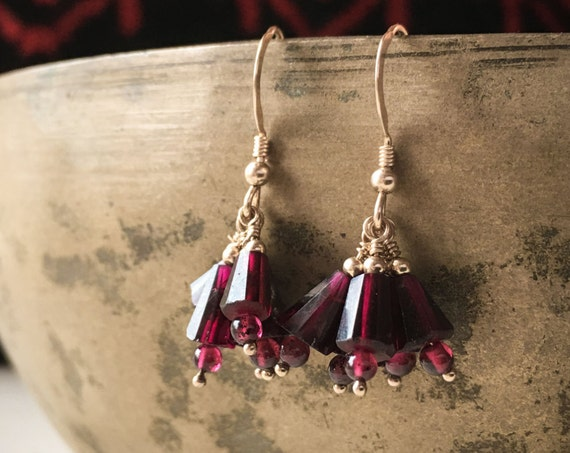 Garnet Gemstone Earrings ~ deep red faceted gold fill drop dangle handcrafted elegant earrings , handcrafted packaging ~ Artsfish Studio