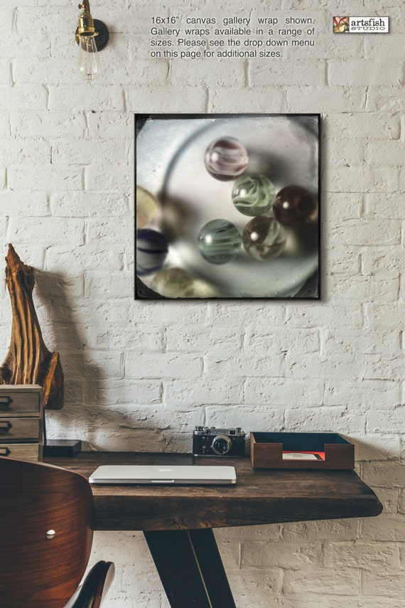 Canvas wrap ~ Glass Marbles ~ wall art retro vintage ~ READY TO HANG ~ solid back photo print fine quality premium materials Artsfish Studio