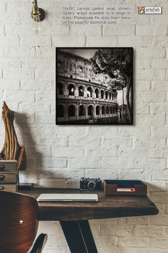 Canvas wrap ~ The Colosseum, Rome Italy ~ READY TO HANG ~ solid back canvas photo print wall art quality premium materials Artsfish Studio