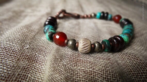 Men's turquoise bracelet ~ Women's bracelet ~ rugged rustic antiqued copper mixed stone bohemian boho gift him her Artsfish Studio