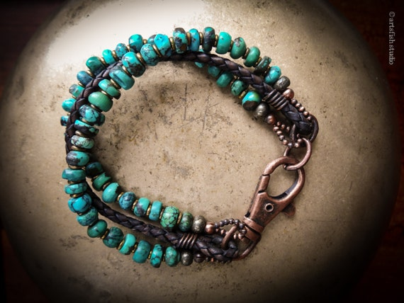 Turquoise bracelet ~ custom size ~ Men or Women's ~ rugged rustic antique copper ~ braided genuine leather bohemian boho Artsfish Studio