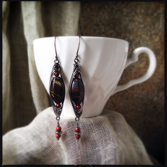 Bohemian earrings ~ tiger iron tigereye red agate antiqued silver rustic wire wrapped tribal boho handcrafted dangle Artsfish Studio