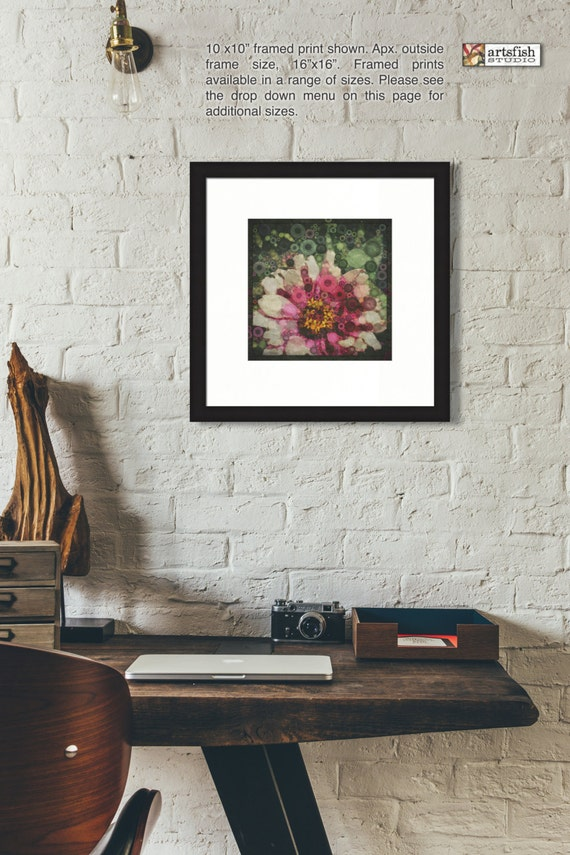 Framed print ~ Gerber Daisy ~ nature flowers ~ matted fine wall art photo print. Museum quality giclée archival materials Artsfish Studio