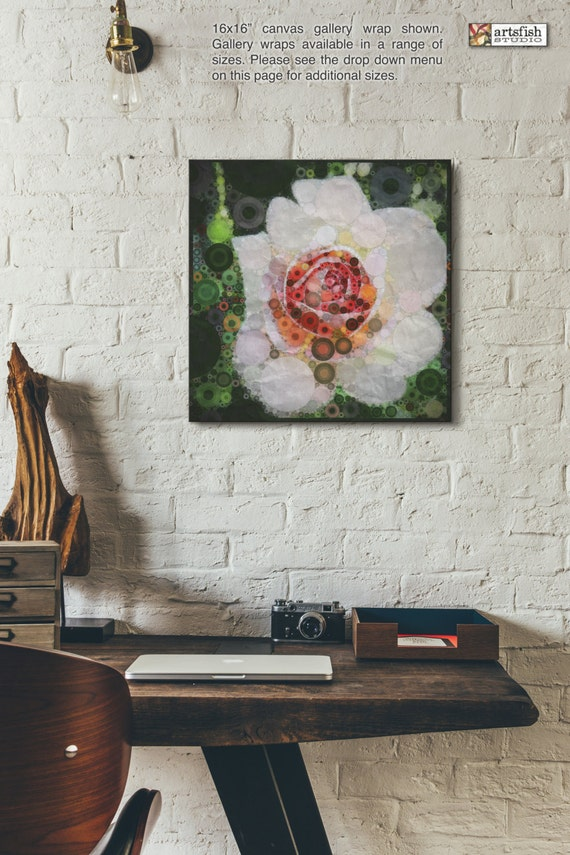 Canvas wrap ~ White Rose ~ original wall fine art ~ READY TO HANG ~ solid back canvas wrap photo print fine quality Artsfish Studio