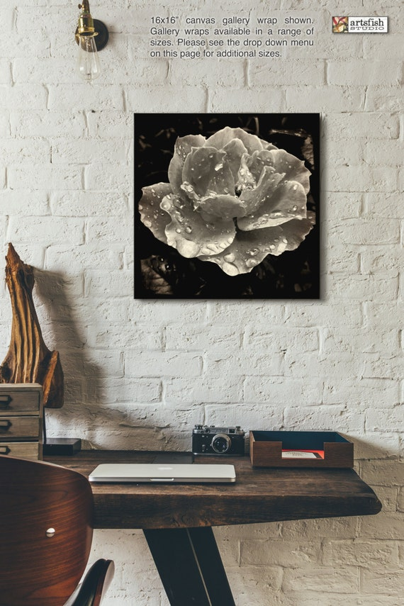 Canvas wrap ~ Raindrop Rose ~ READY TO HANG ~ solid back canvas wrap photo print fine wall art quality premium materials Artsfish Studio