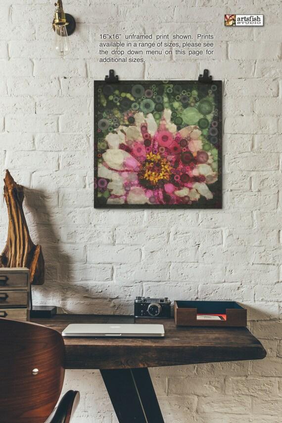 Unframed print ~ Gerber Daisy  ~ giclée ~ abstract unframed fine wall art ~ Hahnemühle artist paper museum quality archival  Artsfish Studio
