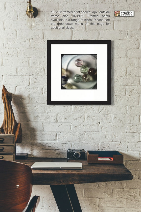 Framed print ~ Glass marbles retro vintage ~ original  matted fine wall art  Hahnemühle artist paper quality giclée archival Artsfish Studio