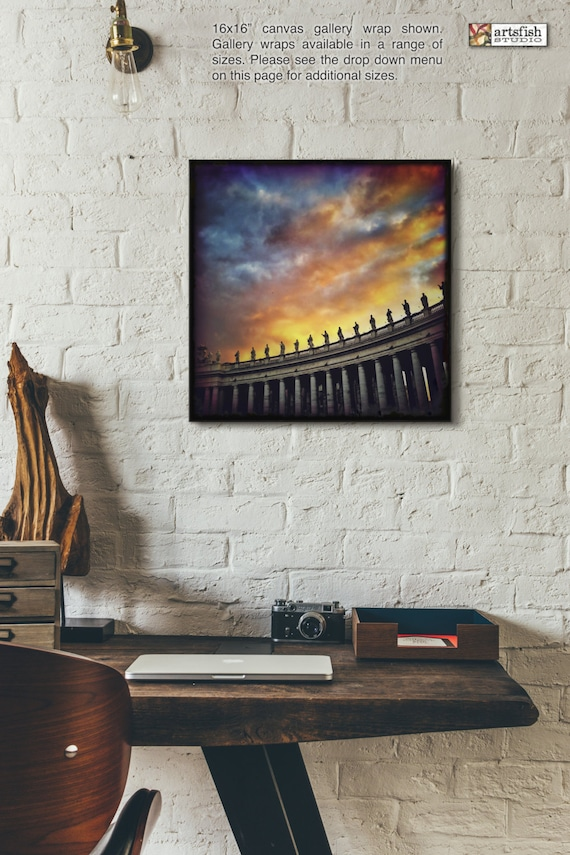 Canvas wrap ~ Sunset at Piazza San Pietro Vatican City ~ READY TO HANG ~ solid back photo print fine wall art quality Artsfish Studio
