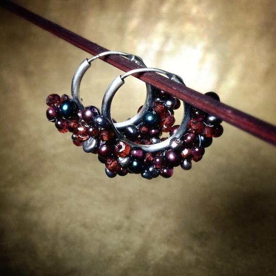 Garnet & Pearl Gemstone Hoop Earrings ~ deep red garnet silver freshwater pearl wrapped boho tribal handcrafted earrings Artsfish Studio