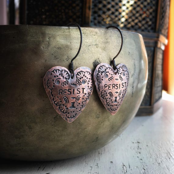 Heart Protest earrings ~  27mm hammered copper or 925 silver rustic handcrafted earrings , RESIST PERSIST ~ handcrafted