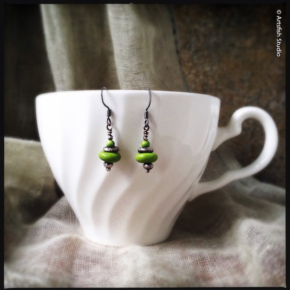Bohemian Gaspeite Earrings ~ Vivid lime green gaspeite Thai Hill Tribe silver antique patina drop boho handcrafted earrings Artsfish Studio