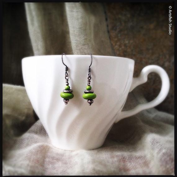 Bohemian Gaspeite Earrings ~ Vivid lime green gaspeite Thai Hill Tribe silver antique patina drop boho handcrafted earrings Artsfish Studio