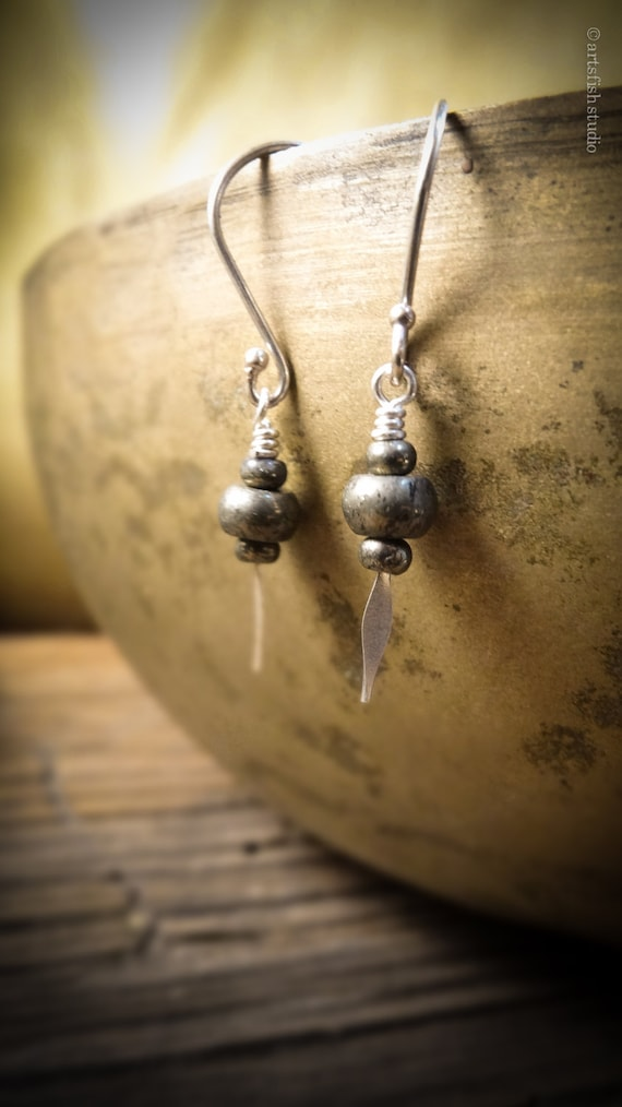Pyrite Earrings ~ petite, warm natural pyrite and solid silver handmade fine silver earwires dangle boho bohemian earrings Artsfish Studio