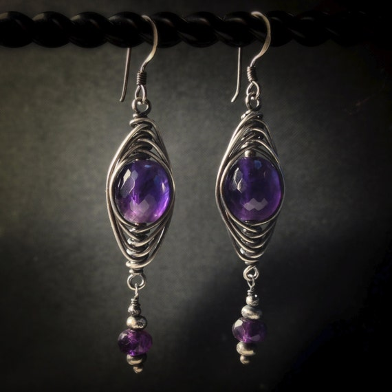 Bohemian Gemstone Earrings ~ deep purple lavender African amethyst silver wire wrapped tribal boho handcrafted earrings Artsfish Studio