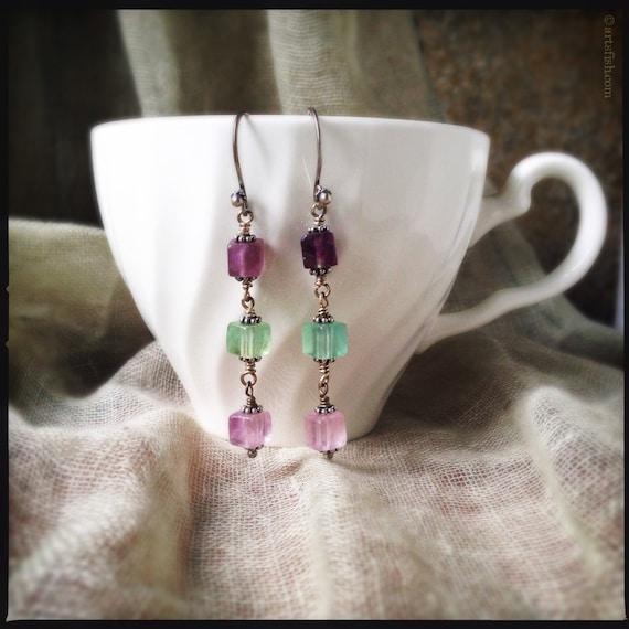 Swing Gemstone Earrings ~ Multicolor lavender purple aqua fluorite cube gemstone silver boho dangle earrings Artsfish Studio