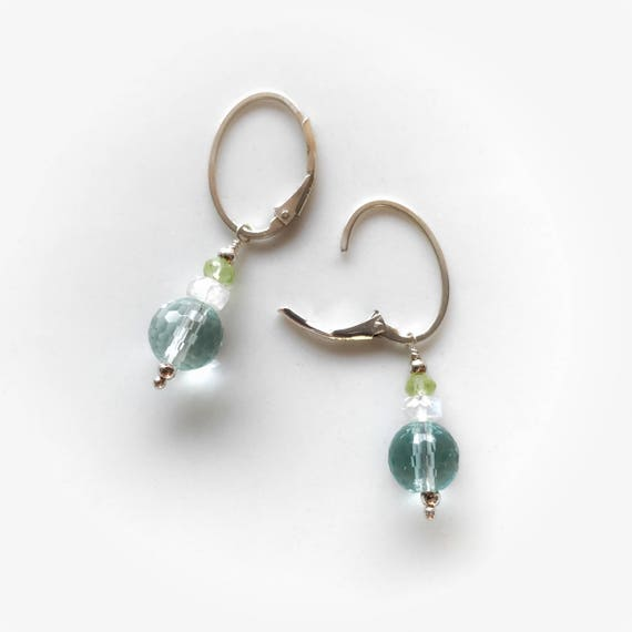 Clear blue obsidian sphere earrings with moonstone and peridot ~ .925 Sterling silver leverbacks