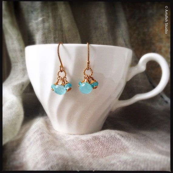 Chalcedony Gemstone Earrings ~ teal aqua apatite 24K gold vermeil drop dangle handcrafted wire wrapped elegant earrings Artsfish Studio
