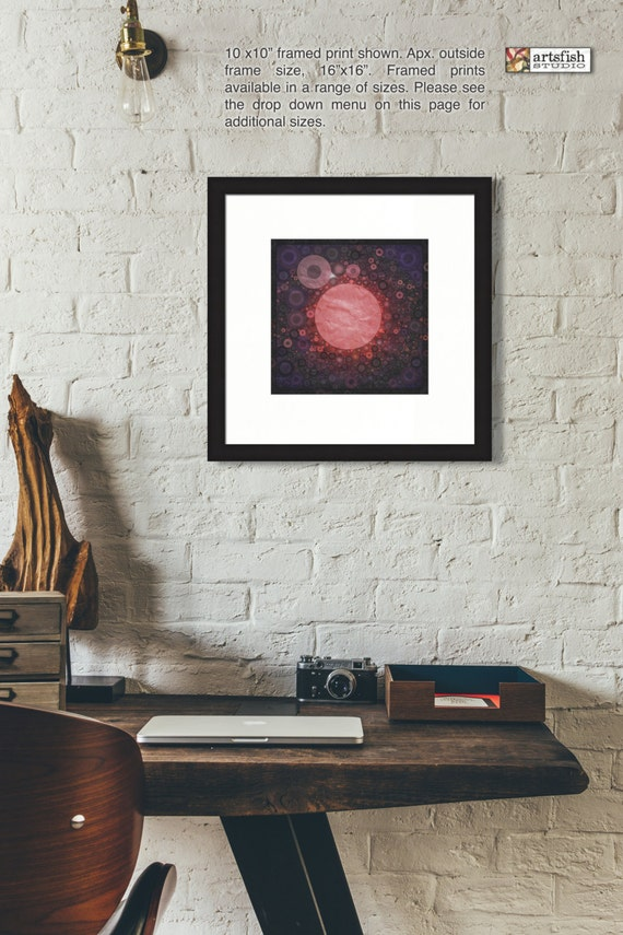 Framed Print ~ Red Hole Sun ~ original matted fine wall art Hahnemühle artist paper museum quality giclée archival materials Artsfish Studio
