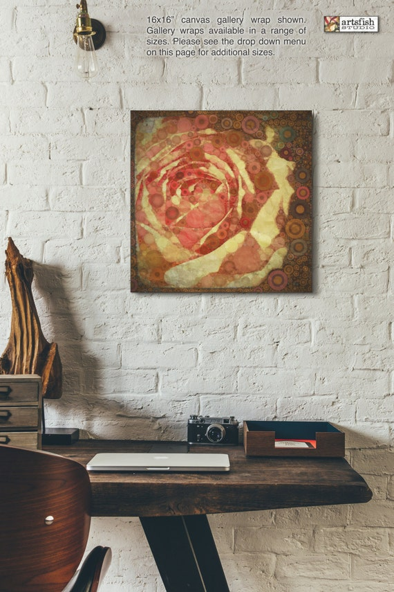 Canvas wrap ~ Sun Washed Rose ~ original art  ~ READY TO HANG ~ solid back canvas photo print wall art quality materials Artsfish Studio