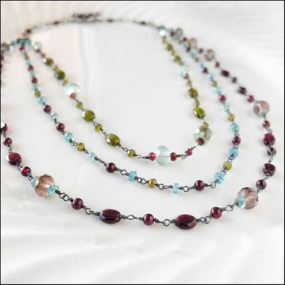 Sterling silver and gemstone 3 strand necklace ~ Garnet, Moonstone, Apatite, Vessonite, Rainbow Fluoride ~meticulously wire wrapped links
