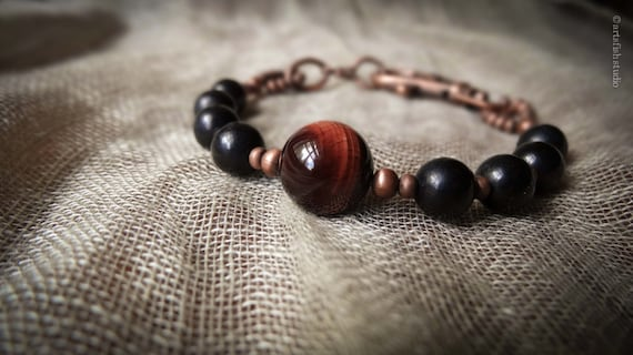 Men's red and black tigereye bracelet ~ Women's  ~ rugged rustic antiqued copper mixed stone bohemian boho gift him her Artsfish Studio