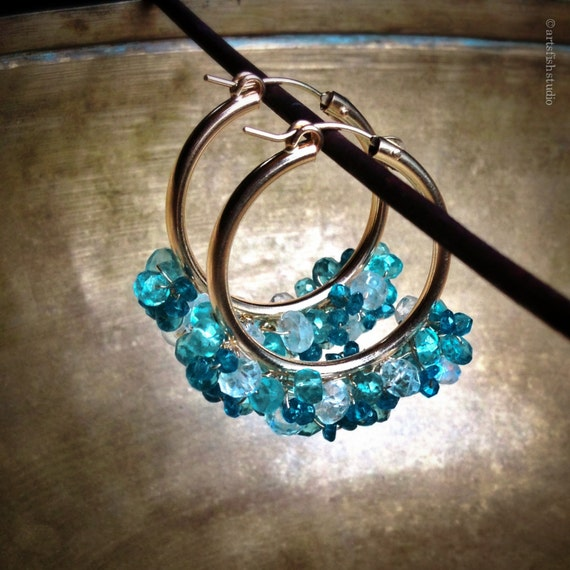 Gemstone Gold Hoop Earrings ~ 22/28mm ~ Teal blue apatite and moonstone ~ elegant style 14K gold fill art jewelry ~ Artsfish Studio