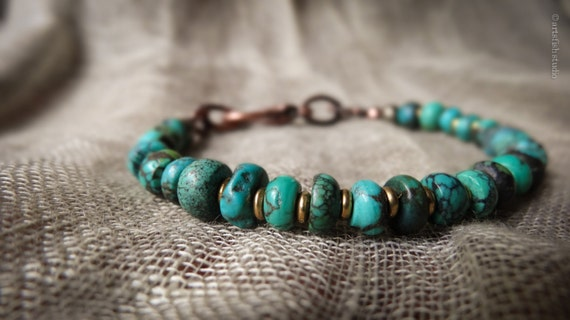 Men's turquoise bracelet ~ Women's bracelet ~ rugged rustic antiqued copper pyrite bohemian boho gift him her Artsfish Studio