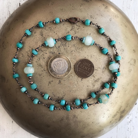 "Copper, Teal Blue Amazonite and Opaque Aquamarine ~ Solid Antiqued Oxidized Copper ~ Rustic Boho Wire Wrapped ~ 21"", 53cm ~ heirloom quality"