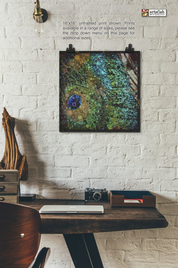Unframed print ~ Peacock Feathers  ~ giclée original wall art ~ Hahnemühle artist paper museum quality archival  Artsfish Studio