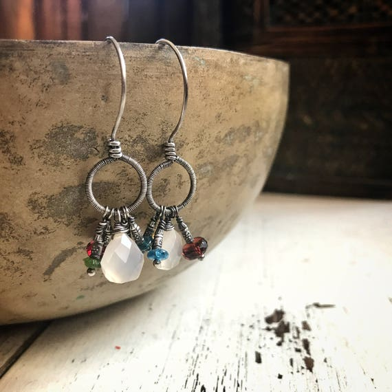 Chalcedony, red & green garnet, teal apatite, golden citrine ~ sterling silver ~boho wire wrapped earrings ~  Artsfish Studio