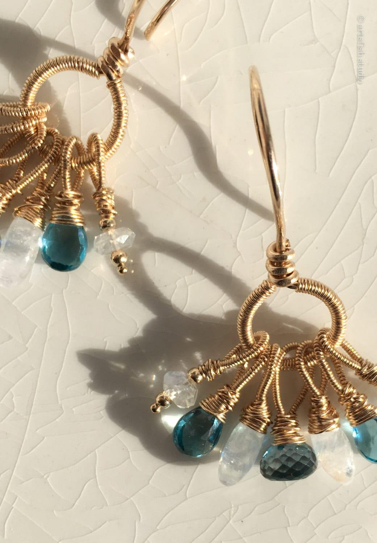 Bohemian London Blue Topaz & Moonstone Gemstone Earrings
